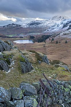 A view of Blea Tarn from Side Pike, Lake District National Park, Cumbria, England, United Kingdom, Europe