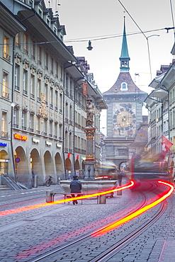 Marktgasse and Zytglogge Apotheke, Bern, Jungfrau region, Bernese Oberland, Swiss Alps, Switzerland, Europe