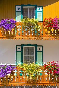 Balconies and flowers, Pozza di Fassa, Fassa Valley, Trento Province, Trentino-Alto Adige/South Tyrol, Italian Dolomites, Italy, Europe