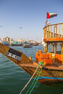 Boats on Dubai Creek, Bur Dubai, Dubai, United Arab Emirates, Middle East