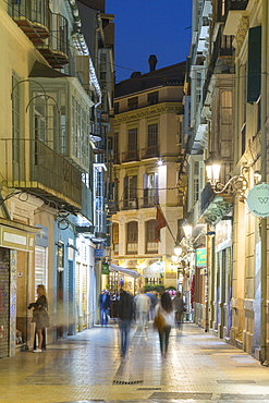 Cafes and restaurants on Calle Granada at dusk, Malaga, Costa del Sol, Andalusia, Spain, Europe