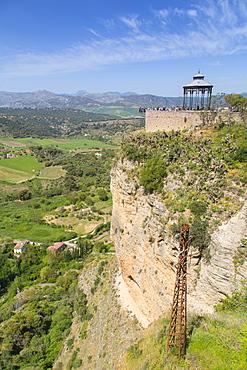 View of Andalusian countryside and Alameda Del Tajo, Ronda, Andalusia, Spain, Europe