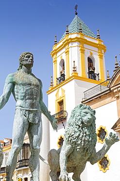 Fountain and church Iglesia del Socorro, Plaza del Socorro, Ronda, Andalusia, Spain, Europe
