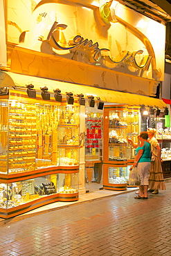 Gold shop in the Gold Souk, Dubai, United Arab Emirates, Middle East