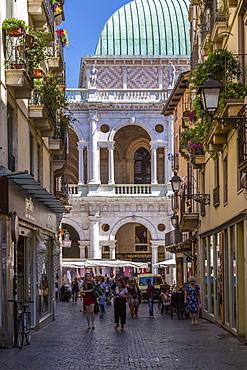 Palladian Basilica viewed from narrow street, Vicenza, Veneto, Italy, Europe