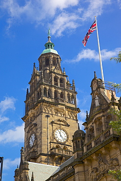 Town Hall Clocktower and Union Jack, Sheffield, South Yorkshire, Yorkshire, England, United Kingdom, Europe