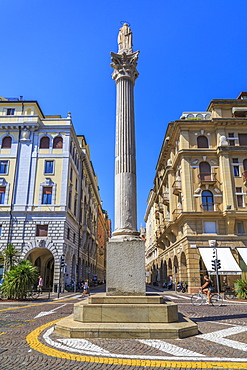 Colonna Madonna di Noli in Piazza Garibaldi against blue sky, Padua, Veneto, Italy, Europe
