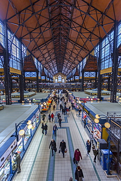 Elevated view of stalls in the interior of Budapest Central Market, Budapest, Hungary, Europe