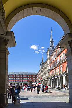 Ornate architecture viewed through archway in Calle Mayor, Madrid, Spain, Europe