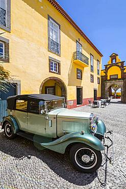 View of vintage car in Fortress courtyard, Funchal, Madeira, Portugal, Europe