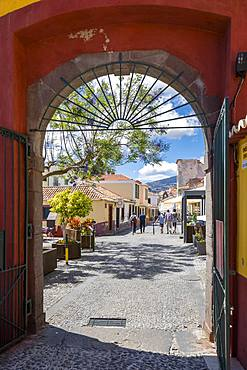 View of from Fortress through archway door, Funchal, Madeira, Portugal, Atlantic, Europe