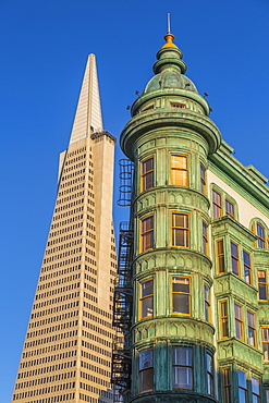 View of Transamerica Pyramid building and Columbus Tower on Columbus Avenue, North Beach, San Francisco, California, United States of America, North America