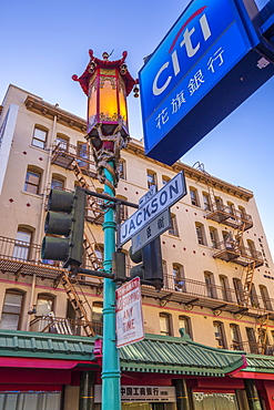 View of ornate lamp post in Chinatown, San Francisco, California, United States of America, North America