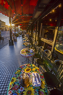 View of restaurant tables on Columbus Avenue, North Beach, San Francisco, California, United States of America, North America