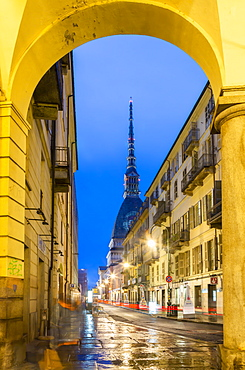 View of Mole Antonelliana at dusk, Turin, Piedmont, Italy, Europe