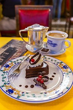 Signature chocolate cake and coffee in Confetteria Buratti and Milano, Piazza Castello, Turin, Piedmont, Italy, Europe
