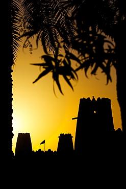 Al Jahili Fort at sunset, Al Jahili Park, Al Ain, Abu Dhabi, United Arab Emirates, Middle East
