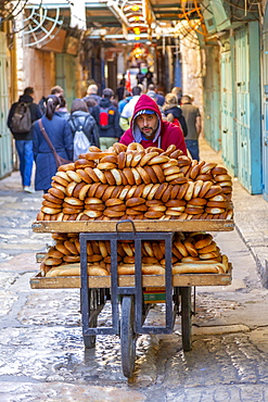 View of bread man in Old City, Old City, UNESCO World Heritage Site, Jerusalem, Israel, Middle East