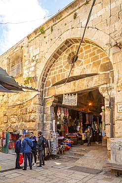 Entrance to Souk Khan al-Zeit Street in Old City, Old City, UNESCO World Heritage Site, Jerusalem, Israel, Middle East