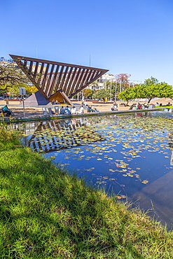 View of Rabin Square pond, Tel Aviv, Israel, Middle East