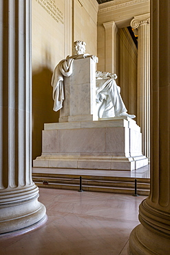 View of the statue of Abraham Lincoln, Lincoln Memorial, Washington, D.C., United States of America, North America
