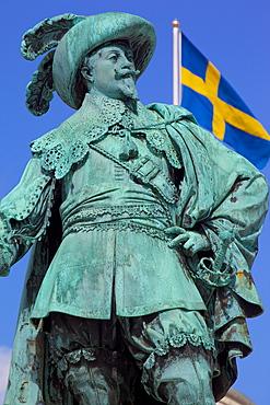 Bronze statue of the town founder Gustav Adolf, Gustav Adolfs Torg, Gothenburg, Sweden, Scandinavia, Europe