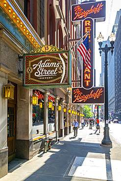 View of the Berghoff Restaurant exterior, Downtown Chicago, Illinois, United States of America, North America