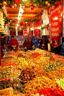 Toffee fudge stall, Christmas Market, Albert Square, Manchester, England, United Kingdom, Europe
