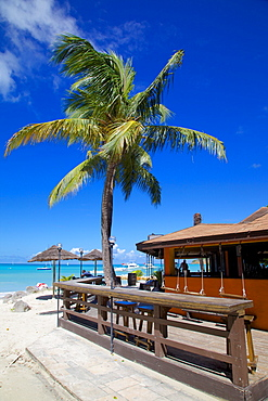 Beach and beach bar, Dickenson Bay, St. Georges, Antigua, Leeward Islands, West Indies, Caribbean, Central America
