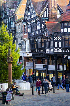 Christmas Tree on Eastgate and Bridge Street, Chester, Cheshire, England, United Kingdom, Europe
