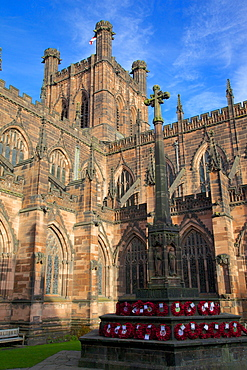 Cathedral and War Memorial, Chester, Cheshire, England, United Kingdom, Europe