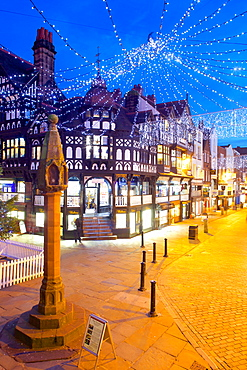 East Gate Street at Christmas, Chester, Cheshire, England, United Kingdom, Europe