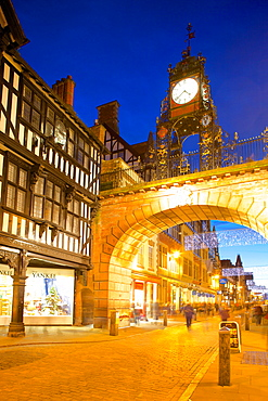 East Gate Clock at Christmas, Chester, Cheshire, England, United Kingdom, Europe