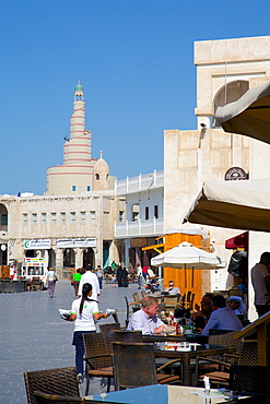 The restored Souq Waqif and spiral Mosque of the Kassem Darwish Fakhroo Islamic Centre, Qatar, Middle East