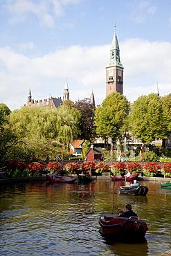 Tivoli Gardens and City Hall Clock Tower, Copenhagen, Denmark, Scandinavia, Europe