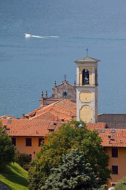 Church belltower, Sulzano, Lake Iseo, Lombardy, Italian Lakes, Italy, Europe