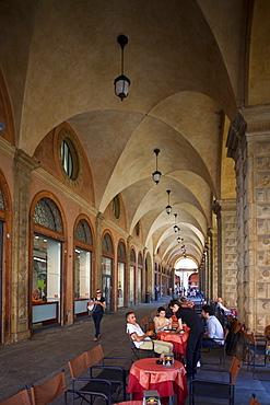 Cafe, Podesta Palace, Piazza Maggiore, Bologna, Emilia Romagna, Italy, Europe