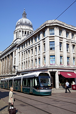 Council House and city tram, Nottingham, Nottinghamshire, England, United Kingdom, Europe