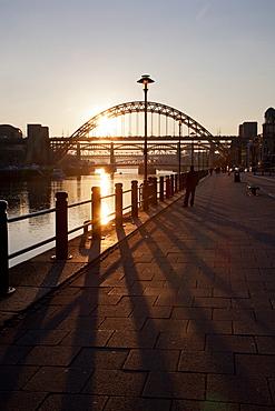 Tyne Bridge at sunset, spanning the River Tyne between Newcastle and Gateshead, Tyne and Wear, England, United Kingdom, Europe