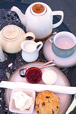 Cream tea at the Castle by the Sea Tearoom, Scarborough, North Yorkshire, Yorkshire, England, United Kingdom, Europe