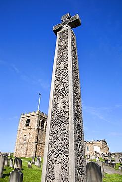 Caedmons Cross in St. Marys Churchyard, Whitby, North Yorkshire, Yorkshire, England, United Kingdom, Europe