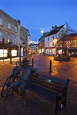 Blind Jack statue at Christmas, Knaresborough, North Yorkshire, Yorkshire, England, United Kingdom, Europe