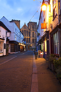Kirkgate and The Cathedral at dusk, Ripon, North Yorkshire, Yorkshire, England, United Kingdom, Europe