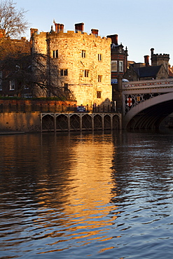 Lendal Tower and the River Ouse at sunset, York, Yorkshire, England, United Kingdom, Europe