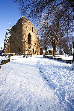 The Kings Tower at Knaresborough Castle in the snow Knaresborough, Yorkshire, England, United Kingdom, Europe