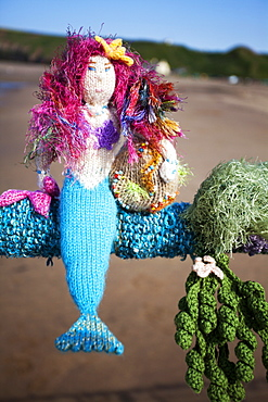 Saltburn Yarn Stormers knitted mermaid on the Pier at Saltburn by the Sea, Redcar and Cleveland, North Yorkshire, Yorkshire, England, United Kingdom, Europe