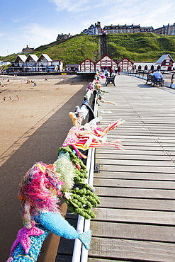 Saltburn Yarn Stormers knitting on the Pier at Saltburn by the Sea, Redcar and Cleveland, North Yorkshire, Yorkshire, England, United Kingdom, Europe