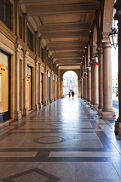 Colonnades along Via Roma, Turin, Piedmont, Italy, Europe