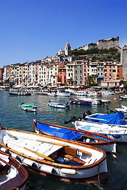 Colourful painted buildings by the Marina at Porto Venere, Cinque Terre, UNESCO World Heritage Site, Liguria, Italy, Mediterranean, Europe