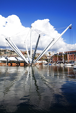 The Bigo panoramic Lift at the Old Port in Genoa, Liguria, Italy, Europe